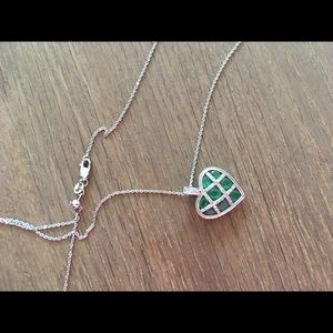 Jewelry - White gold and emerald pave heart necklace